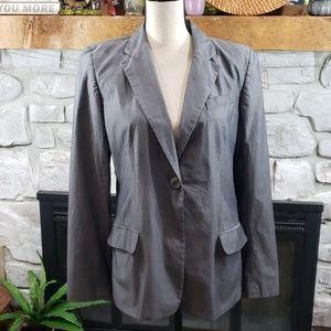 DKNY gray single button cotton career blazer 12